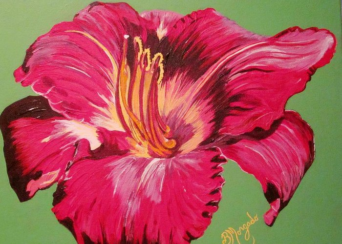 Red Lily Greeting Card featuring the painting Red Lily Valley by Brenda Morgado
