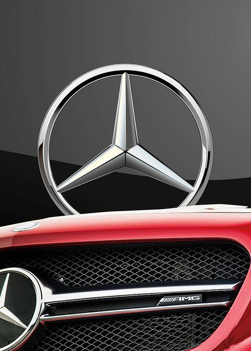 'auto Badges' By Serge Averbukh Greeting Card featuring the photograph Red Mercedes - Front Grill Ornament and 3 D Badge on Black by Serge Averbukh
