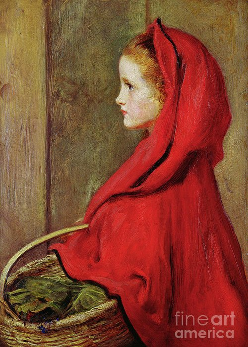 Millais Greeting Card featuring the painting Red Riding Hood by John Everett Millais