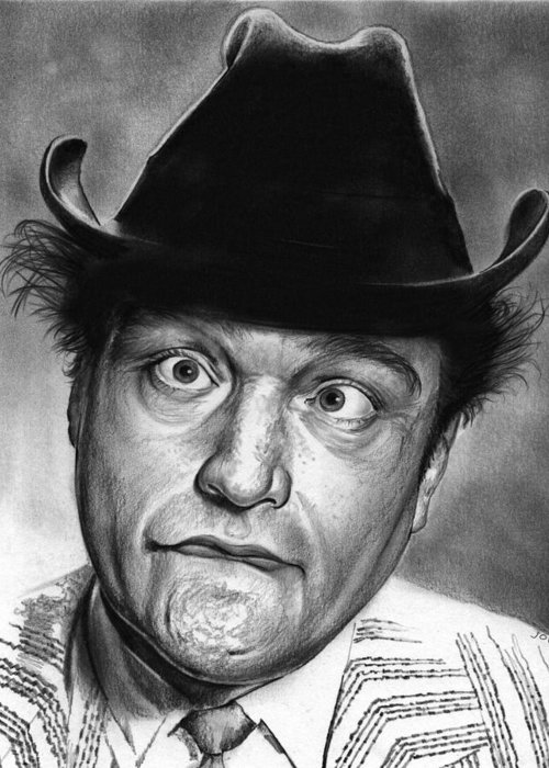 Celebrity Greeting Card featuring the drawing Red Skelton by Greg Joens