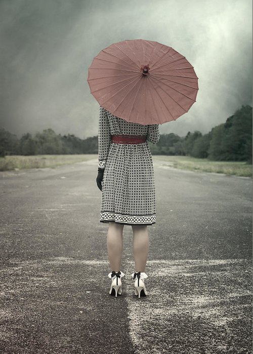 Woman Greeting Card featuring the photograph Red Umbrella by Joana Kruse