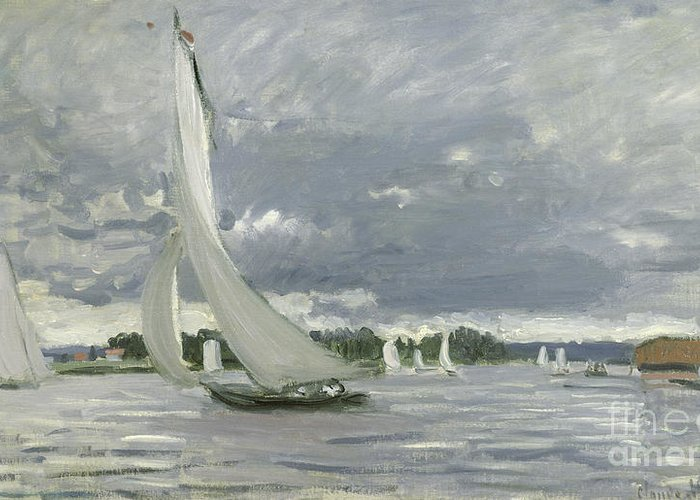 Regatta Greeting Card featuring the painting Regatta At Argenteuil by Claude Monet