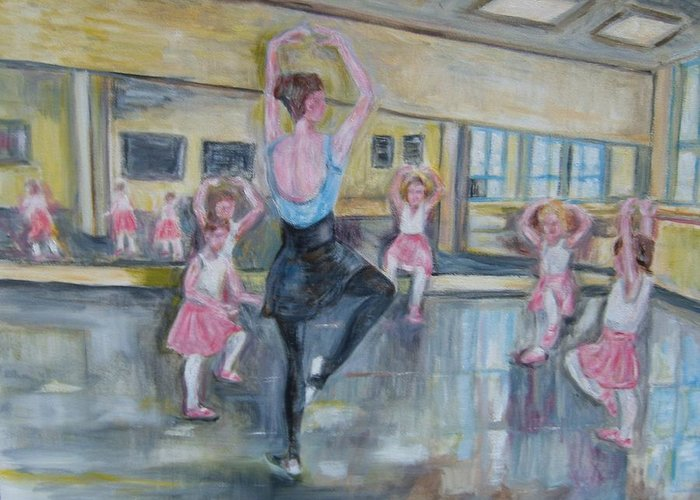 People-childrin Dancing Learning Ballet Greeting Card featuring the painting Rehearsal by Joseph Sandora Jr