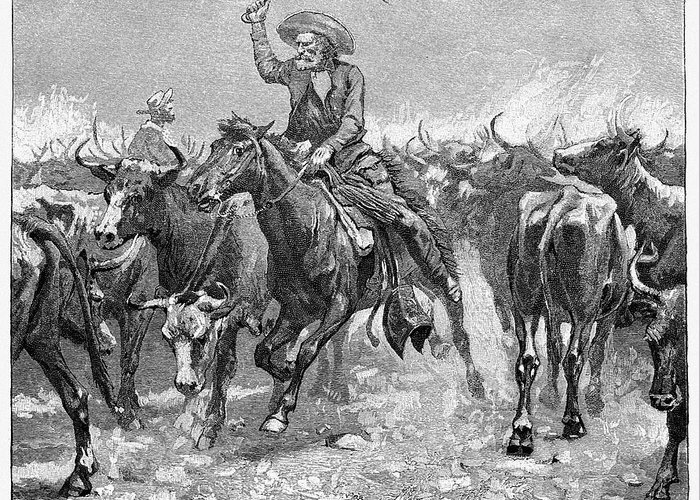 1888 Greeting Card featuring the photograph Remington: Cowboys, 1888 by Granger