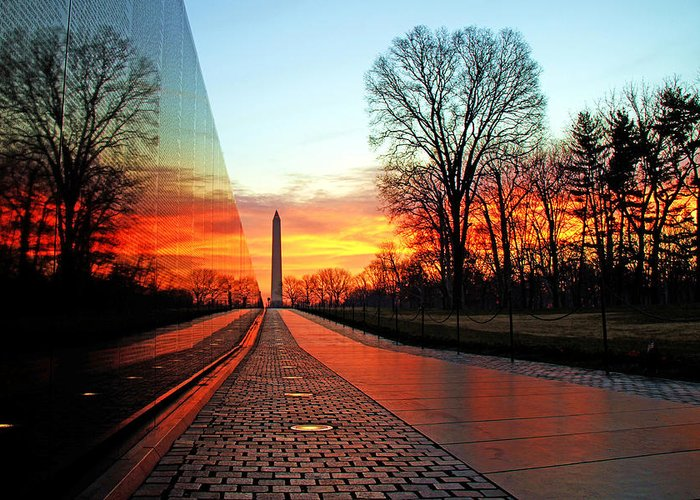 Vietnam Memorial Greeting Card featuring the photograph Resolve by Mitch Cat