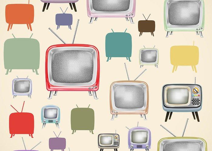 Analog Greeting Card featuring the painting retro TV pattern by Setsiri Silapasuwanchai