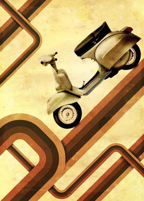 Vespa Greeting Card featuring the digital art Retro Vespa Scooter by Michael Tompsett