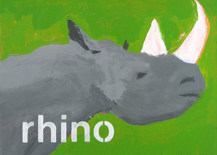 Rhinoceros Painting Greeting Card featuring the painting Rhinoceros by Laurie Breen