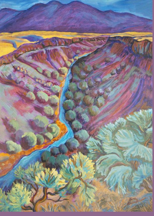 New Mexico Greeting Card featuring the painting Rio Grande In September by Gina Grundemann