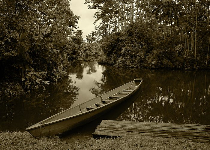 Boat Greeting Card featuring the photograph River Boat Filled With Water by Robert Hamm