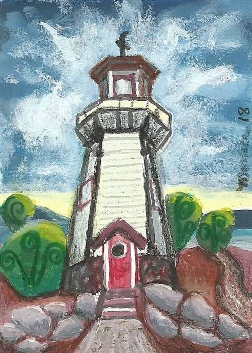 Lighthouse Greeting Card featuring the painting River Rouge Memorial Lighthouse by Monica Resinger