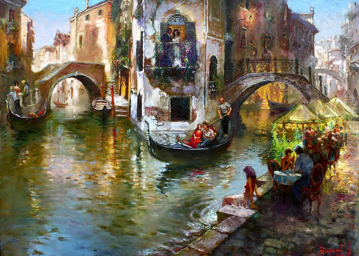 Gondolier Paintings Greeting Cards