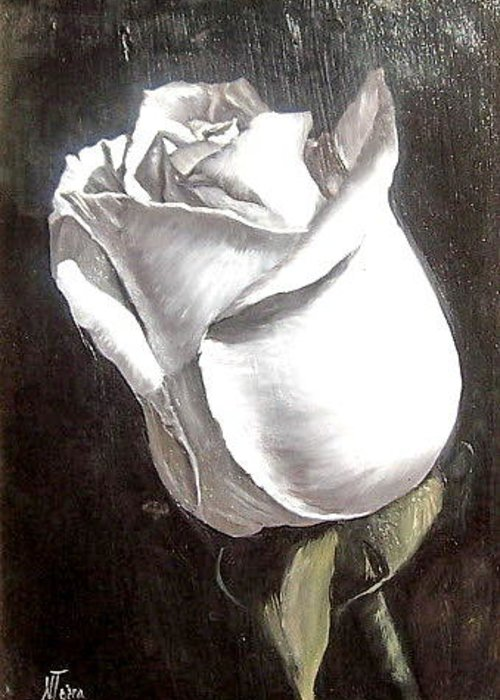 Flower Rose Still Life Greeting Card featuring the painting Rose 2 by Natalia Tejera