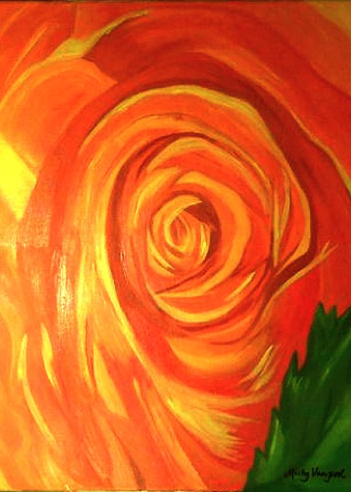 Abstract Greeting Card featuring the painting Rose by Misty VanPool