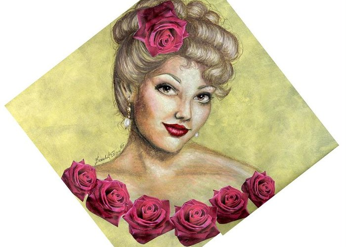Portrait Greeting Card featuring the drawing Rose by Scarlett Royal