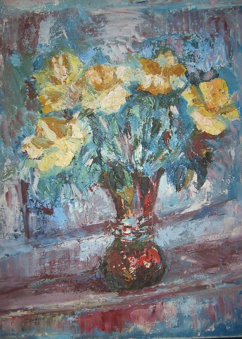 Still Life Flowers Roses Yellow Blue Piano Greeting Card featuring the painting Roses On Piano by Joseph Sandora Jr
