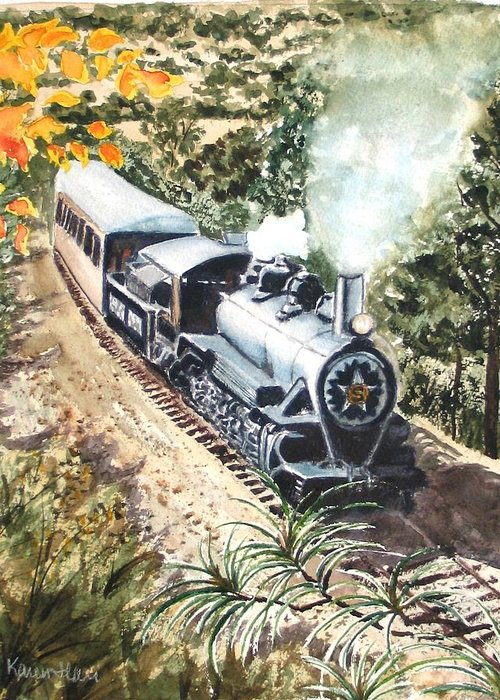 Trains Greeting Card featuring the painting Round The Bend by Karen Ilari