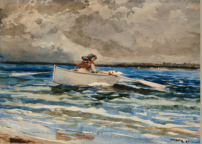 Rowing At Prout's Neck Greeting Card featuring the painting Rowing At Prouts Neck by Winslow Homer
