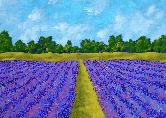 Acrylic Greeting Card featuring the painting Rows Of Lavender In Provence by Mike Kraus