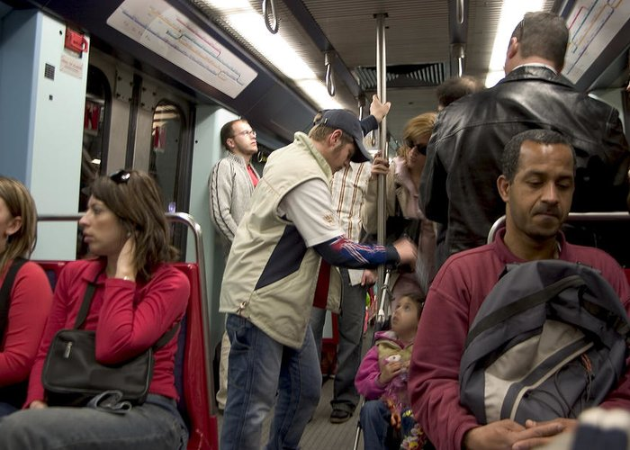 Public Greeting Card featuring the photograph Rush Hour On Paris Metro by Carl Purcell