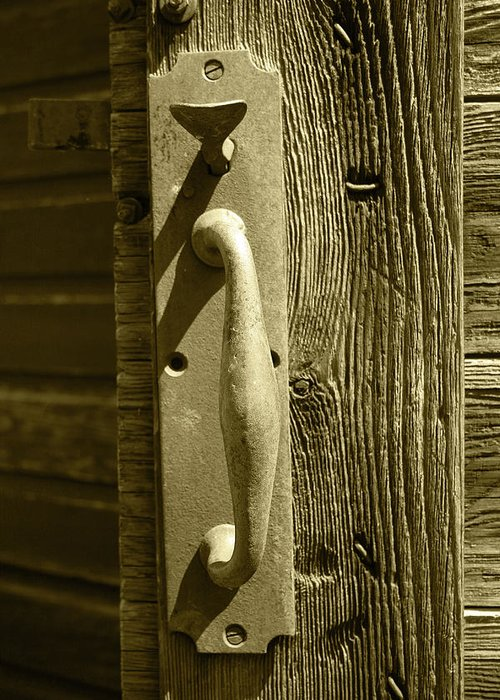 Handle Greeting Card featuring the photograph Rusted Door Handle by Robert Hamm