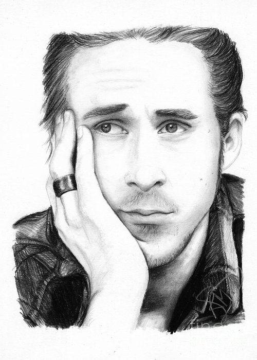 Ryan Gosling Greeting Card featuring the drawing Ryan Gosling by Rosalinda Markle