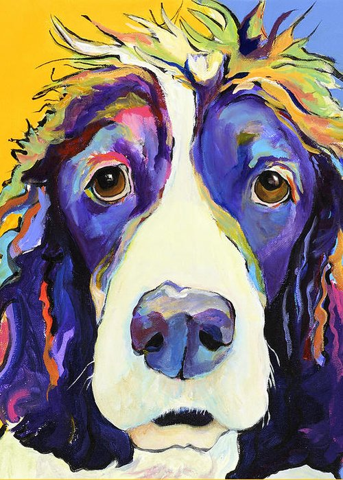 Blue Greeting Card featuring the painting Sadie by Pat Saunders-White