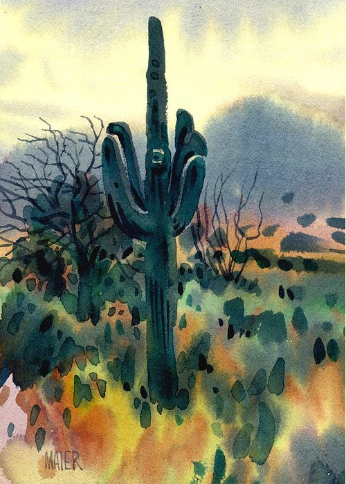 Saguraro Greeting Card featuring the painting Saguaro by Donald Maier