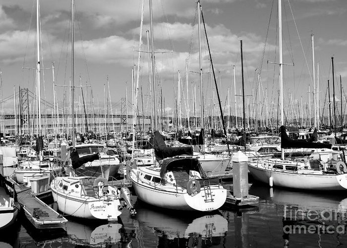 Black And White Greeting Card featuring the photograph Sail Boats At San Francisco China Basin Pier 42 With The Bay Bridge In The Background . 7d7666 by Wingsdomain Art and Photography