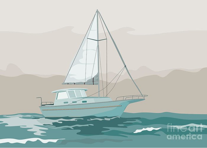 Sailing Ship Greeting Card featuring the digital art Sailboat Retro by Aloysius Patrimonio