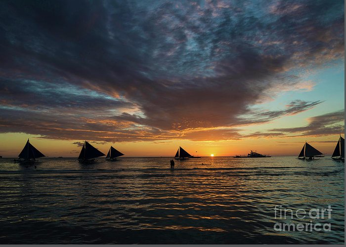 Asia Greeting Card featuring the photograph Sailing Boats At Sunset Boracay Tropical Island Philippines by Jacek Malipan