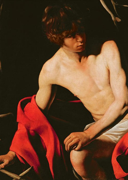 Michelangelo Caravaggio Greeting Card featuring the painting Saint John The Baptist by Michelangelo Caravaggio