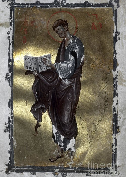 13th Century Greeting Card featuring the painting Saint Luke by Granger