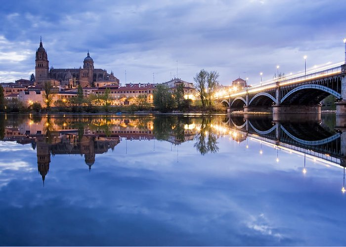 Ancient; Architecture; Art; Blue; Bridge; Building; Church; City; Construction; Europe; Gothic; Historic; Medieval; Night; Old; Place; Religion; Religious; Sky; Stone; Street; Temple; Tourism; Tourist; Tower; Travel; Window; World Greeting Card featuring the photograph Salamanca by Andre Goncalves