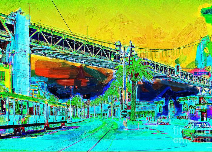 San Francisco Greeting Card featuring the photograph San Francisco Embarcadero And The Bay Bridge by Wingsdomain Art and Photography
