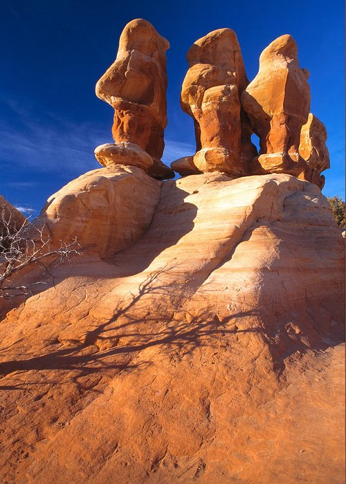 Sandstone Greeting Card featuring the photograph Sandstone Hoodoos In Utah Desert by Utah Images