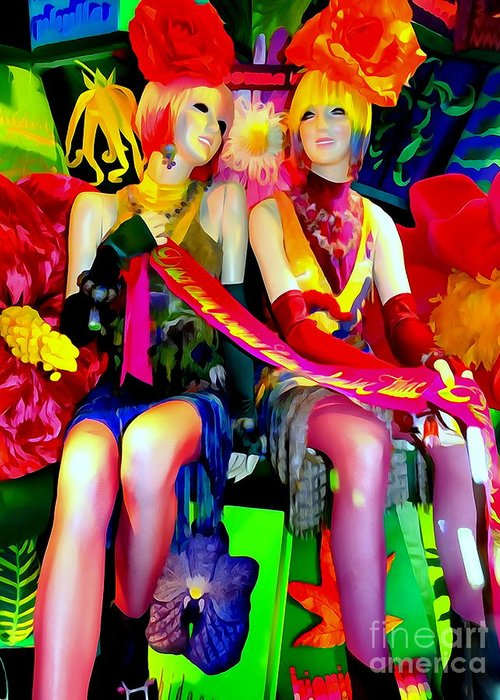 Mannequins Greeting Card featuring the digital art Sassy Sisters by Ed Weidman