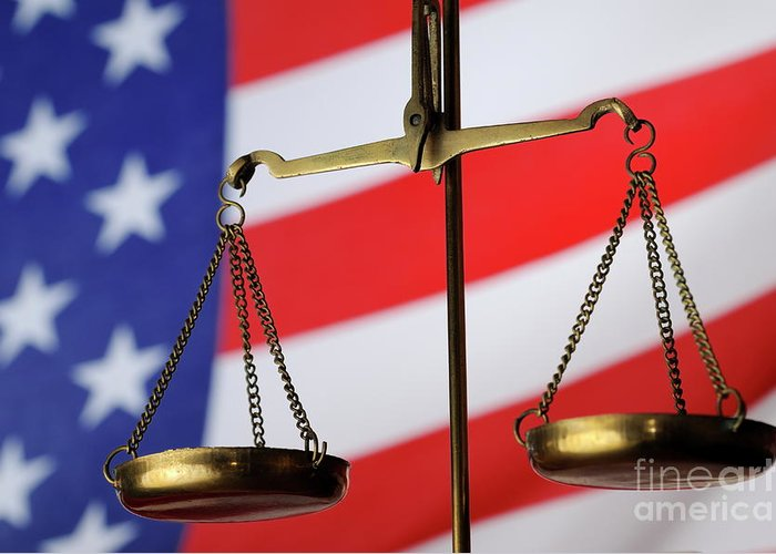 Authority Greeting Card featuring the photograph Scales Of Justice And American Flag by Sami Sarkis