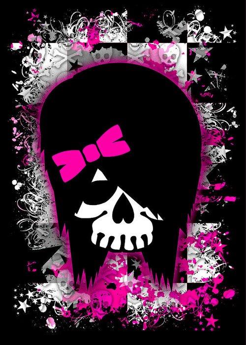 Skull Greeting Card featuring the digital art Scene Kid Girl Skull by Roseanne Jones