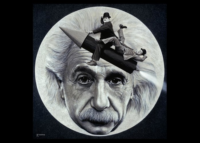 Einstein Greeting Card featuring the painting Scientific Comedy by Ross Edwards