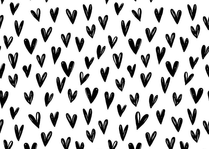 Seamless Greeting Card featuring the digital art Seamless Pattern With Hand Drawn Hearts. by Sandy Sheni