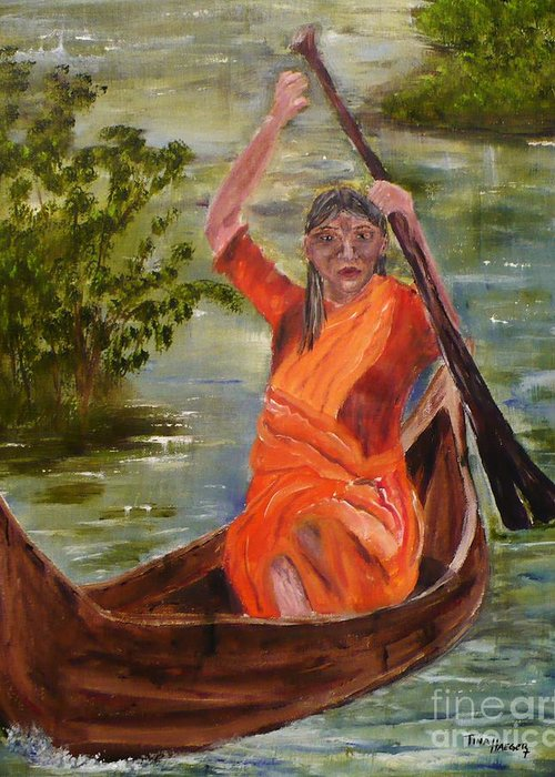 Haeger Art Searching Indian Greeting Card featuring the painting Searching Indian by Tina Haeger