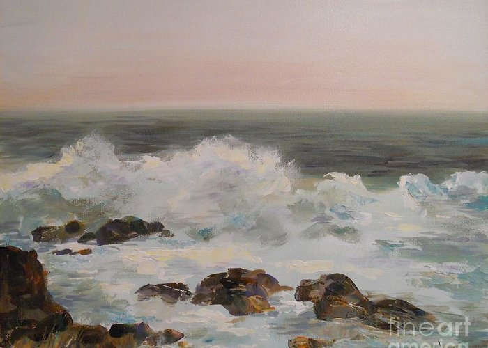 Sea Greeting Card featuring the painting Seascape by Angelina Nedin