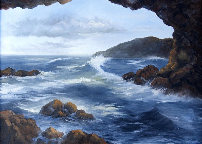Water. Ocean Greeting Card featuring the painting Seascape by Thea Wolff