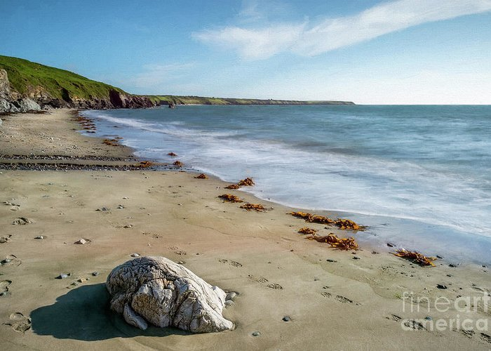 Rock Greeting Card featuring the photograph Seascape Wales by Adrian Evans