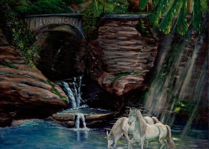 Horse Paintings Greeting Card featuring the painting Secret Garden by Rita Cortesi