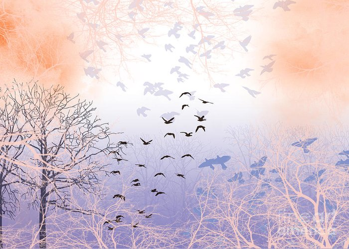 Birds Greeting Card featuring the digital art Seekers by Trilby Cole