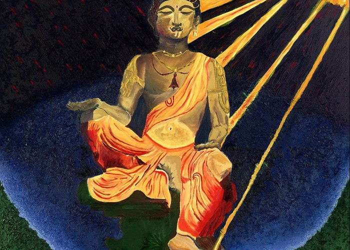 Budda Greeting Card featuring the painting Serenity by Gregory Allen Page