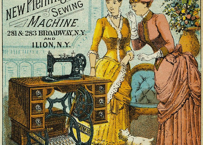 1880s Greeting Card featuring the photograph Sewing Machine Ad, C1880 by Granger