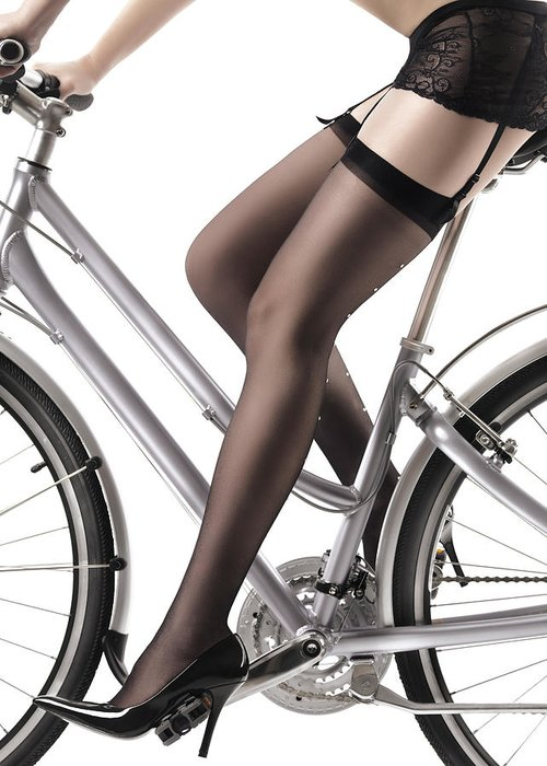 Legs Greeting Card featuring the photograph Sexy Woman Riding A Bike by Oleksiy Maksymenko